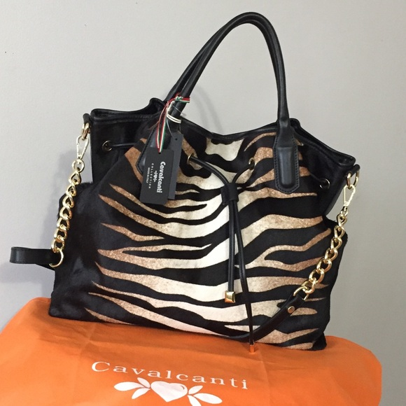 CAVALCANTI New Leather tiger Calf Hair Handbag 👜 f275274344d14